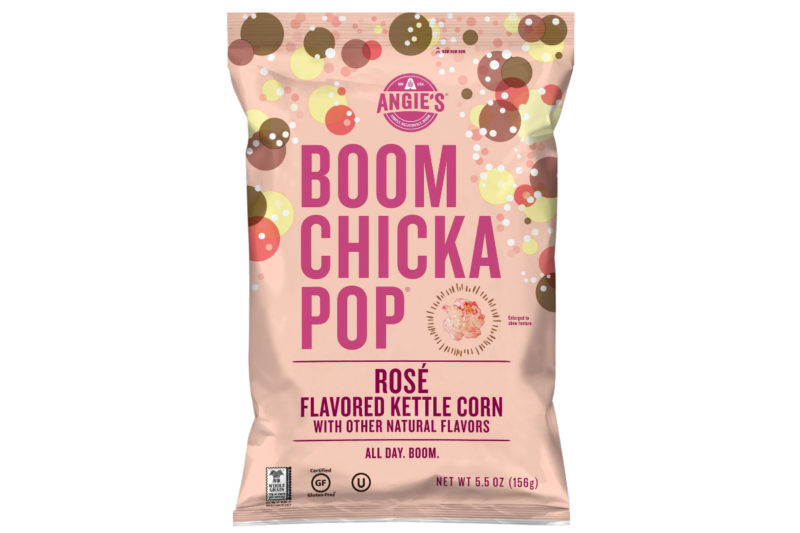 """Angie's Boomchickapop is adding a rosé flavored kettle corn to its snack lineup. The limited-time offering is certified gluten-free.  """"Angie's has been a great acquisition for us,"""" Mr. Connolly said. """"If you're an Angie's fan, you know it's all about unique novel flavors. If you're part of the 'rosé all day' crowd, you will like this."""""""