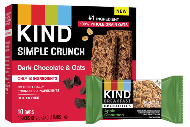 Two new bar lines from Kind Healthy Snacks are making their debut at Expo West. Kind Breakfast Probiotic bars contain 100% whole grains and added probiotic cultures. Each two-bar pack provides 500 million colony forming units of probiotic cultures in three flavors: apple cinnamon, orange cranberry and peanut butter dark chocolate.