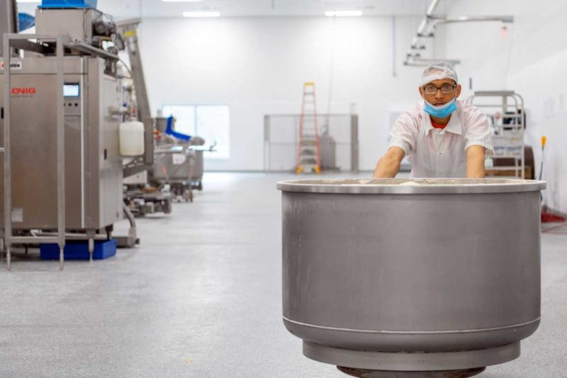 Fireking's new facility is only operating at 20% capacity, and that  leaves more than enough space for dough to travel between processes.