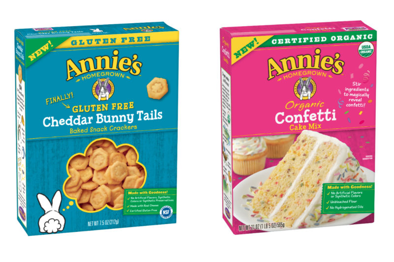 Annie's Homegrown is introducing gluten-free crackers and organic cake mixes. Its Gluten-Free Cheddar Bunny Tails baked snack crackers are made with real cheese and do not contain artificial colors or preservatives. The brand's new organic cake mixes come in two varieties — Confetti and Classic Yellow — and do not contain artificial flavors, synthetic colors, unbleached flour or hydrogenated oils.