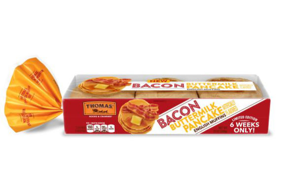 Bimbo Bakeries USA is extending its Thomas' line with new Thomas' Bacon Buttermilk Pancake English Muffins. The limited edition flavor combines the flavors of buttermilk pancakes with salty bacon to create a sweet and salty flavor. (1 of 8)