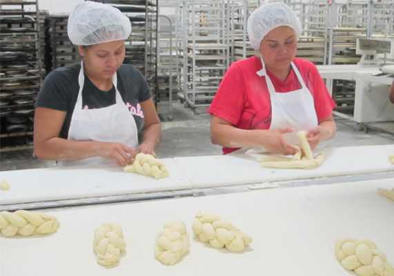 The new bakery relies on smaller 500-lb batches of dough to produce its kosher bread and rolls.