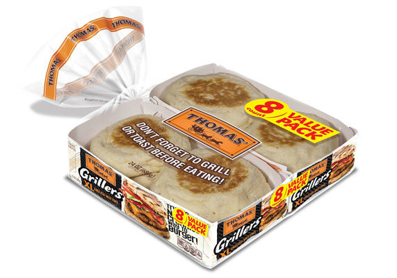 "Bimbo Bakeries USA is switching things up with the launch of a larger version of its traditional English muffin — Thomas' Grillers XL English Muffins — as a bun alternative for summer cookouts.    The new muffins feature a crunchy exterior and a light, soft ""Nooks and Crannies"" interior, according to B.B.U. The large new muffins open the door for enjoying English Muffins in an entirely different way—with a juicy burger in the middle.  (1 of 8)"