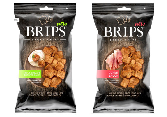 Fortuna, Kostroma, Russia, is debuting Brips in five flavors: cured bacon, roasted garlic, sea salt, sour cream and roasted onion and Thai sweet chili. The bread chips are made with rye bread, sunflower oil and a variety of herbs and spices and do not contain MSG, artificial flavors or artificial colors.  (1 of 8)