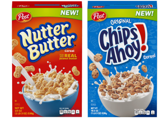 Post Holdings, Inc. is continuing its trend of turning cookies into breakfast cereals with the launch of two new products: Chips Ahoy! Cereal and Nutter Butter Cereal. The two cereals became available in late December and will be on shelves exclusively at Walmart until April 1, 2018, at a suggested retail price of $3.98 for a 19-oz box. (1 of 17)