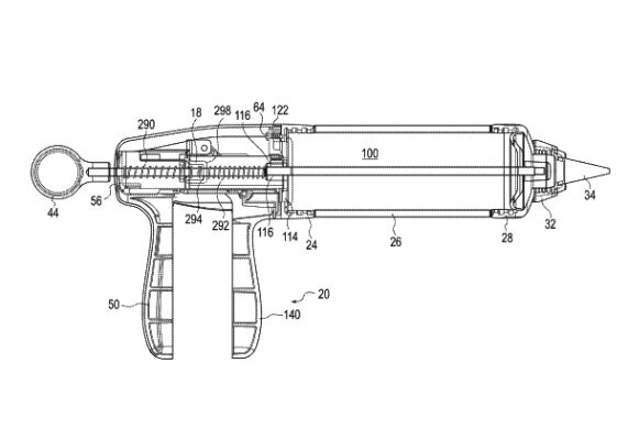 This decorating gun operates with the assembly of a frame, piston, rod, trigger and linkage. This creates a linear movement that allows ingredients such as icing and frosting to be dispensed onto cakes and pastries.   US Patent No. 9,723,845 (Aug. 8, 2017), W. Fiebel et al., assigned to Helen of Troy Limited, St. Michael, Barbados.