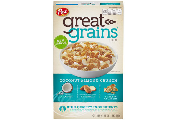Great Grains Coconut Almond Crunch combines crunchy clusters and flakes with sweet coconut and almonds. The cereal contains 240 calories, 11 grams of sugar and 5 grams of protein per 1-cup serving. The cereal is considered a good source of whole grain and contains no high-fructose corn syrup or artificial flavors or colors. (1 of 6)