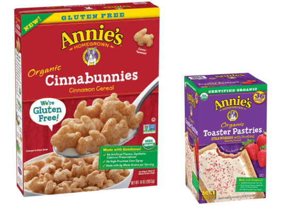 Annie's, a subsidiary of General Mills, is debuting a spate of new products, including organic toaster pastries in strawberry and brown sugar cinnamon varieties, and  organic cinnamon cereal made with whole grains and chickpea flour.  (1 of 11)