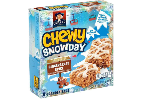 Quaker Chewy bars are getting a snowy makeover for the holidays. New Gingerbread Spice Quaker Chewy Snow Day Bars feature a sweet frosting drizzle and are made with 100% whole grains. (1 of 7)