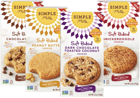 New Simple Mills Soft-Baked Cookies are gluten- and grain-free treats made exclusively from whole-food ingredients such as almond flour, honey and coconut sugar. The paleo-friendly cookies are available in chocolate chip, Snickerdoodle, peanut butter and dark chocolate toasted coconut varieties. Simple Mills Soft-Baked Cookies contain 5 to 6 grams of sugar per serving, are Non-GMO Project verified and contain no grains, gluten, soy, corn or dairy. (1 of 12)