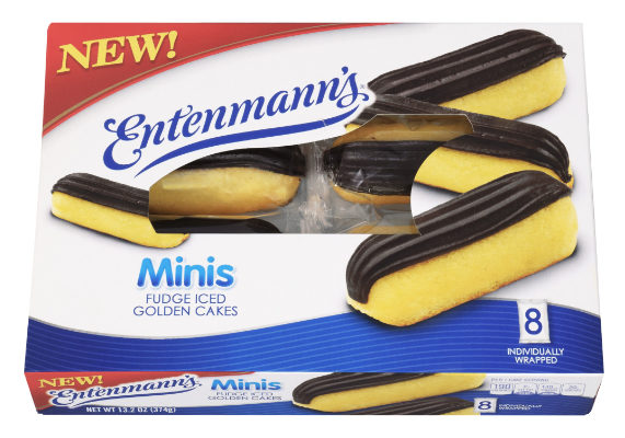 B.B.U. is launching new Entenmann's Minis fudge iced golden cakes. The snack cakes come in boxes of eight individually-wrapped cakes. (1 of 10)