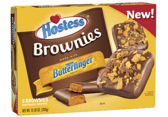 Hostess Brands, L.L.C. has teamed up with Nestle USA, Inc. to launch a new treat. New Hostess Brownies made with Butterfinger features a brownie enrobed in fudge coating with Butterfinger candy pieces sprinkled on top. The brownies are available in multipack and single-serve formats in stores nationwide. (1 of 10)