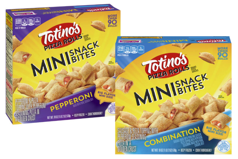 General Mills, Inc. is introducing Totino's Mini Snack Bites. Available in pepperoni and combination flavors, the mini bites take fewer than two minutes to cook per serving. The pepperoni variety features pepperoni made with pork, chicken and beef, combined with pizza toppings and peperoni pizza seasoning in a golden crust, while the combination variety features sausage made with pork and chicken, pepperoni made with pork, chicken and beef, pizza toppings and pepperoni pizza seasoning in a golden crust.