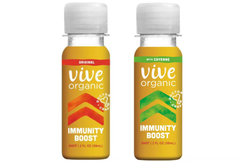 """Venice, Calif.-based Vive Organic markets a range of cold-pressed juice functional shots, including one formulated to boost immunity. The refrigerated vegan drink contains organic ginger, elderberry, turmeric root and echinacea, a combination described as """"helping the body be battle ready."""" The 2-oz shots come in original and cayenne pepper varieties."""