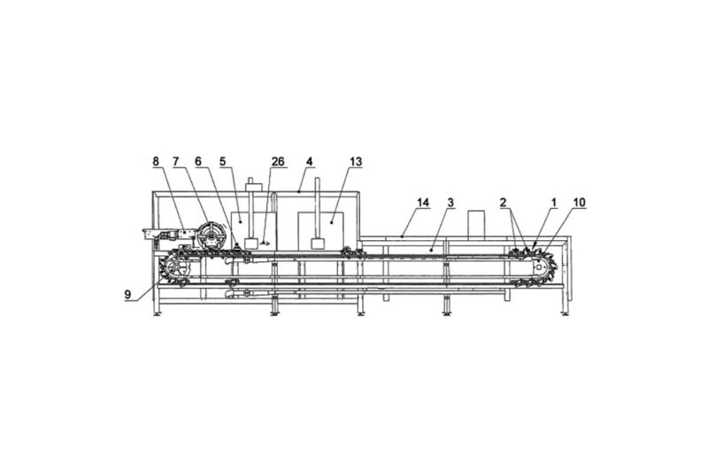 This equipment for producing filled baked goods includes baking presses that open and close and move from a feeding device through an oven to a removal device on a continuous conveyor, which circulates in the longitudinal direction of the oven. The baking press has an axis with lower and upper moulds moving between open and closed positions.
