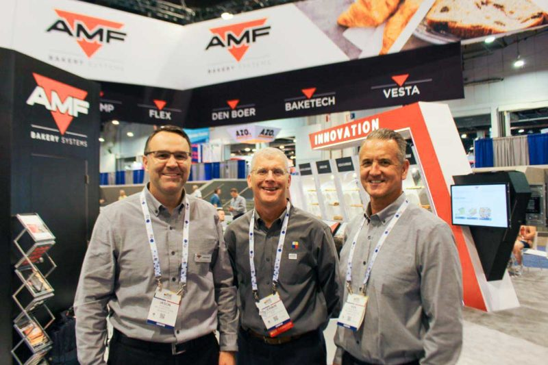 From left: Jason Ward, AMF Bakery Systems (Booth Nos. 5420, 5436); Kerwin Brown, BEMA (Booth No. GL2); and AMF's Ken Newsome.