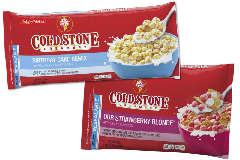 Post's Malt-O-Meal brand teamed up with Cold Stone Creamery to create two new ice cream-flavored cereals. Strawberry Blonde cereal features honey graham and strawberry flavored cereal with marshmallows, and Birthday Cake Remix cereal features birthday cake flavored cereal with chocolate flavored marshmallows.