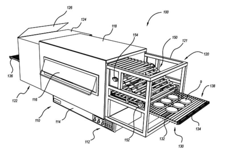 Used for proofing and cooking corrugated dough crusts, this system includes a forming assembly with at least one parallel cylinder opposing a base. Other inventions may incorporate a conveyor or multiple parallel cylinders and spaces in an alternating series.  US Patent No. 9,814,244 (Nov. 7, 2017), K. McFarland, Mesa, AZ.