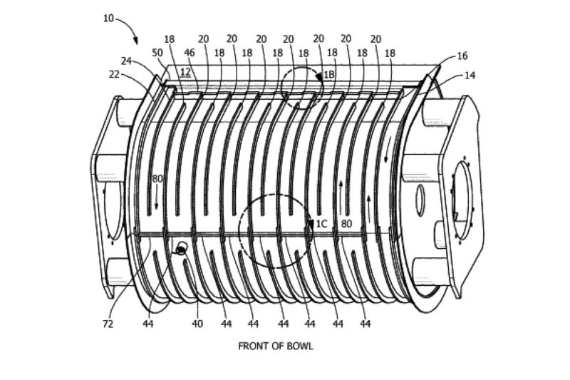 This cooling jacket for industrial mixers has a bowl sheet, which includes first and second horizontal rails mounted lengthwise as well as multiple vertical rails mounted in a staggered pattern. The rails enclose coolant channels on the rear and front sections of the bowl sheet for viscous substances and can be incorporated into or used in combination with the mixing technology.  US Patent No. 9,894,904 (Feb. 20, 2018), M. Hall and K. Lang, assigned to Shaffer Manufacturing Corp., Urbana, Ohio.