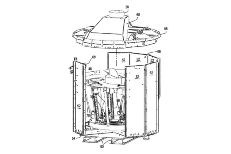 Pizza or other bakery products are placed on a rotating cooking plate that is transported through various zones before they are removed from the oven. In an upper, inner portion of the system, a cooking chamber is bound to the lower surface by the rotating plate, which has a central heat source and at least one heat source below it. A doorway at the front portion of the oven provides food access to the baking chamber.  US Patent No. 9,795,147 (Oct. 24, 2017), H. Hegarty et al., assigned toWood Stone Corp., Bellingham, WA.