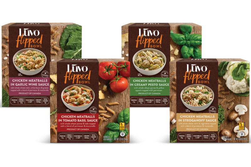 Luvo Inc. is introducing Luvo Flipped Bowls, a new line of microwavable meals containing whole wheat pasta and chicken meatballs made with antibiotic-free chicken, red bell pepper, onions, carrots and spinach.