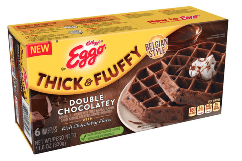 The Kellogg Co. has updated its line of Thick & Fluffy Belgium-Style Waffles and added a new variety. The new Double Chocolatey flavor features a chocolate waffle made with cocoa and embedded with chocolate chips. Each waffle contains 160 calories.