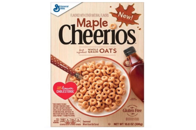 General Mills is putting a maple syrup spin on its classic Cheerios cereal with new Maple Cheerios. The sweetened whole grain oat cereal is gluten-free and contains 110 calories per 3/4 -cup serving.