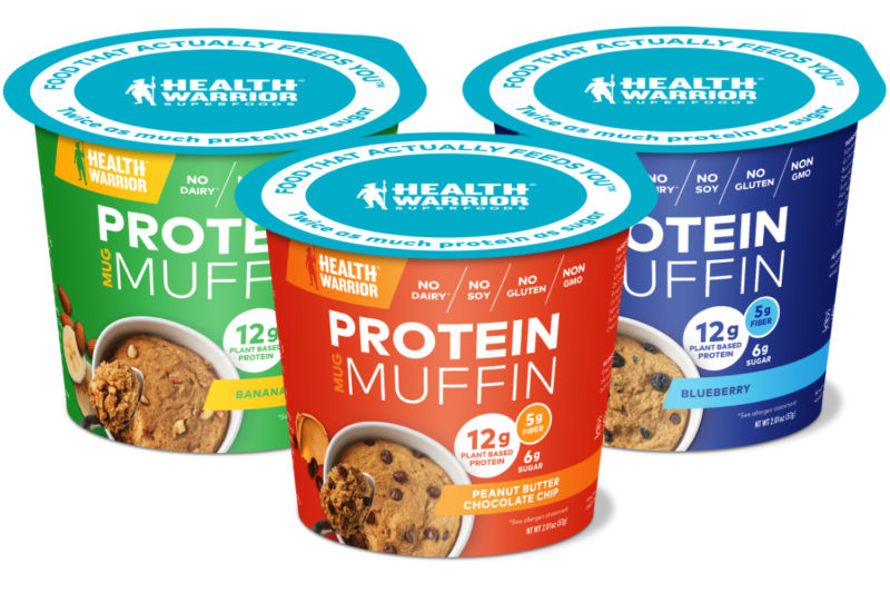 PepsiCo's Health Warrior brand is launching a line of Protein Mug Muffins made with ancient grains, nuts and seeds. Each plant-based muffin contains 12 grams of protein, 6 grams of sugar and 240 calories. Flavors include blueberry, banana nut and chocolate peanut butter.