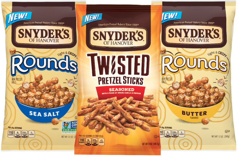 The Campbell Soup Co.'s Snyder's of Hanover pretzel brand is debuting two new product platforms: Pretzel Rounds and Twisted Pretzel Sticks.