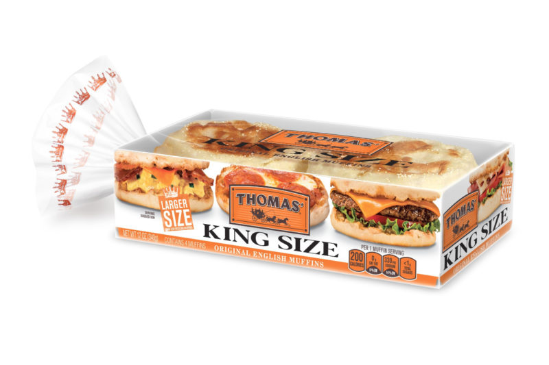 Bimbo Bakeries USA is supersizing its Thomas' English Muffins with the release of Thomas' King Size English Muffins. A large version of the breakfast staple, the new English muffins were designed to accommodate more toppings and be used as buns.
