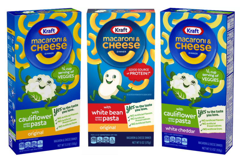 The Kraft Heinz Co. is adding an extra layer of nutrition to its Kraft Macaroni & Cheese Dinner with new varieties that include white beans and cauliflower in the pasta.