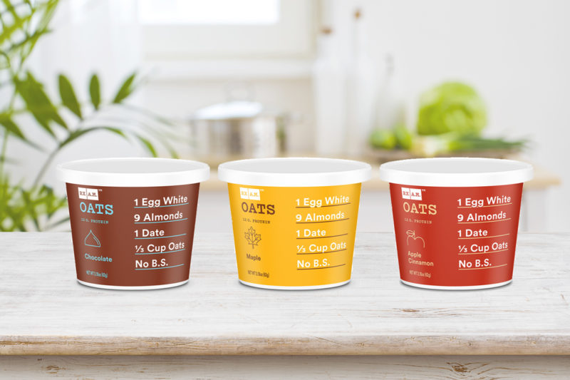 RXBAR, a subsidiary of Kellogg Co., is expanding into the hot cereal category with the launch of RX A.M. Oats. Packaged in single-serve cups, the products contain gluten-free oats, egg whites, dates and nuts. Flavors include maple, apple cinnamon and chocolate. RX A.M. Oats may be prepared with hot water, in the microwave or as overnight oats. Each cup provides 12 grams of protein and 6 grams of fiber.