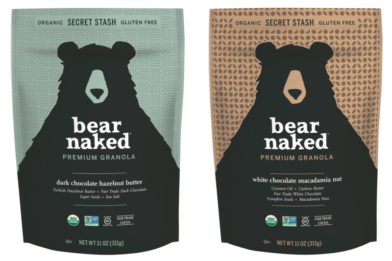 The Kellogg Co. is ushering its Bear Naked granola brand into the premium segment with its new Bear Naked Premium Granola collection. The granolas feature bites of melted Fair Trade chocolate and nut butter baked in and are made using a technique that creates a soft, cookie-like texture, Kellogg said. Both varieties are U.S.D.A. certified organic, Non-GMO Project verified, certified gluten-free and include Fair Trade cocoa.  The White Chocolate Macadamia Nut granola combines whole grain oats, cashew butter, white chocolate, pumpkin seeds, macadamia nuts and honey.  The Dark Chocolate Hazelnut granola features a blend of whole grain oats, hazelnut butter, roasted Turkish hazelnuts, semisweet chocolate, sunflower seeds, pumpkin seeds and honey.