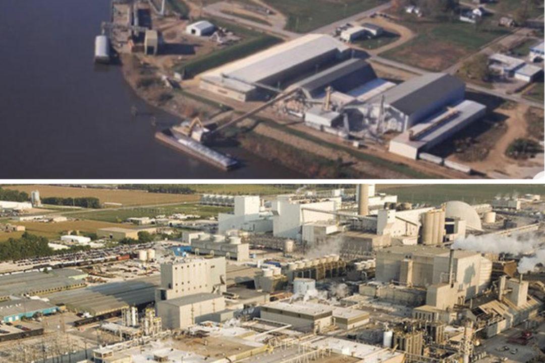 ADM mills in Clinton, Iowa and Decatur, Illinois