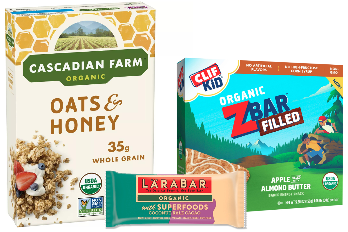 Organic products from General Mills and Clif Bar