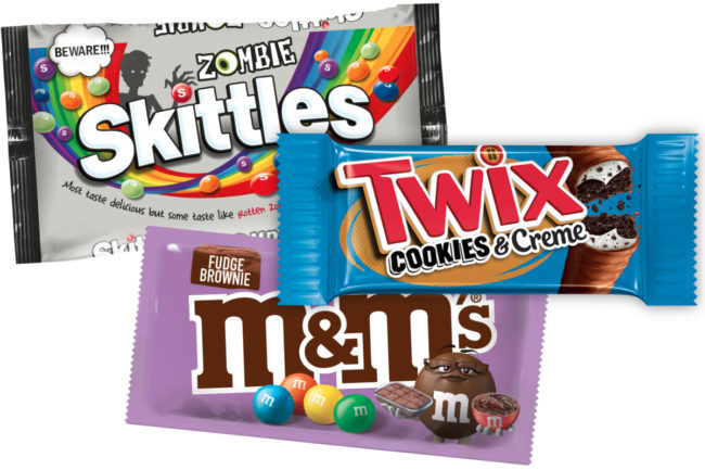 New Zombie Skittles, Twix Cookies & Creme and M&Ms fudgy brownie, Mars