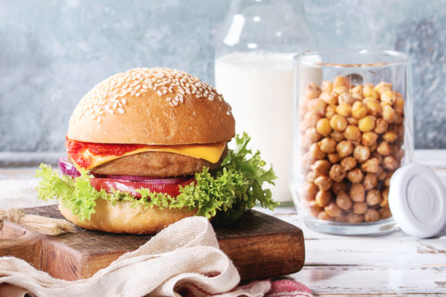 Plant-based burger and milk