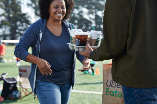 Starbucks Uber Eats delivery at a soccer game