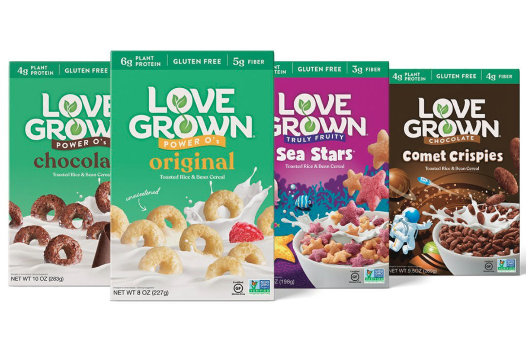 Love Grown rebranded cereal boxes