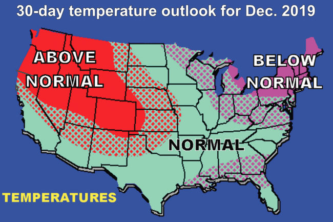 30-day temperature outlook for December 2019 chart