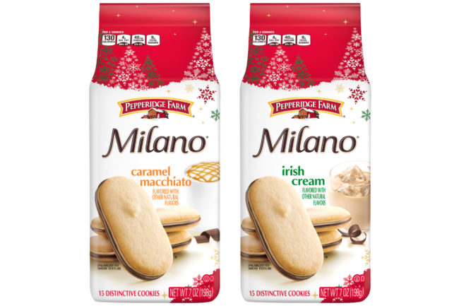 Pepperidge Farm caramel macchiato and Irish cream Milano cookies