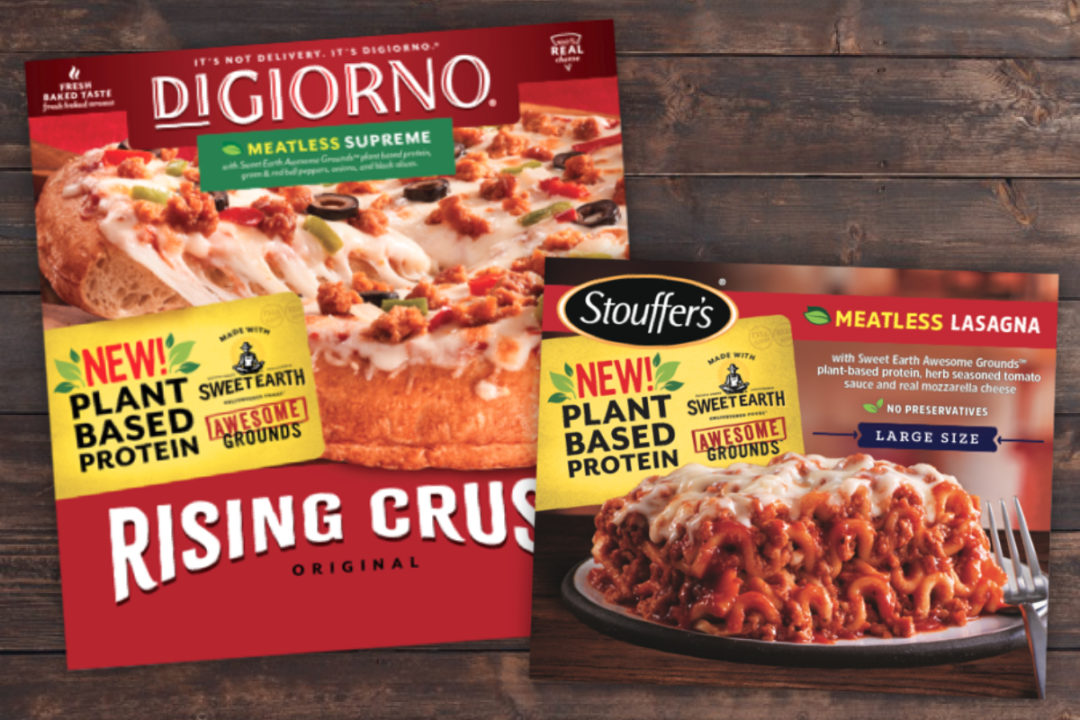 Nestle Digiorno Rising Crust Meatless Supreme and Stouffer's Meatless Lasagna with Sweet Earth Awesome Grounds