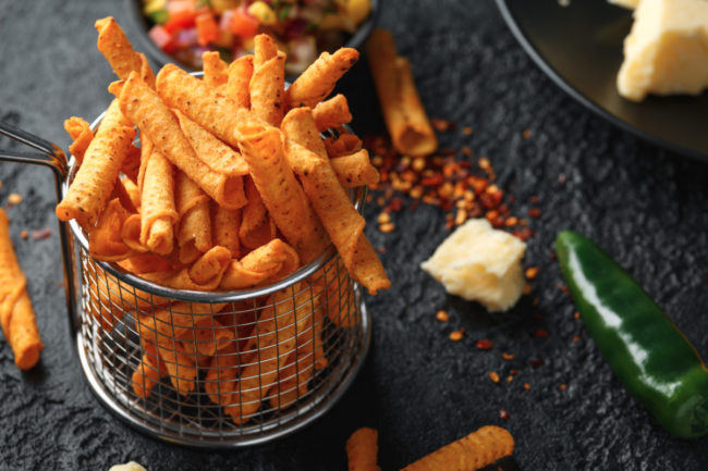 Spicy rolled tortilla chips