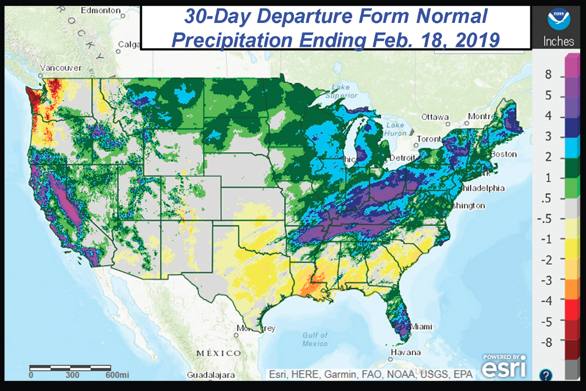 Weather Around The Us Map Frequent rain and snow soak U.S. Midwest | 2019 02 28 | Baking