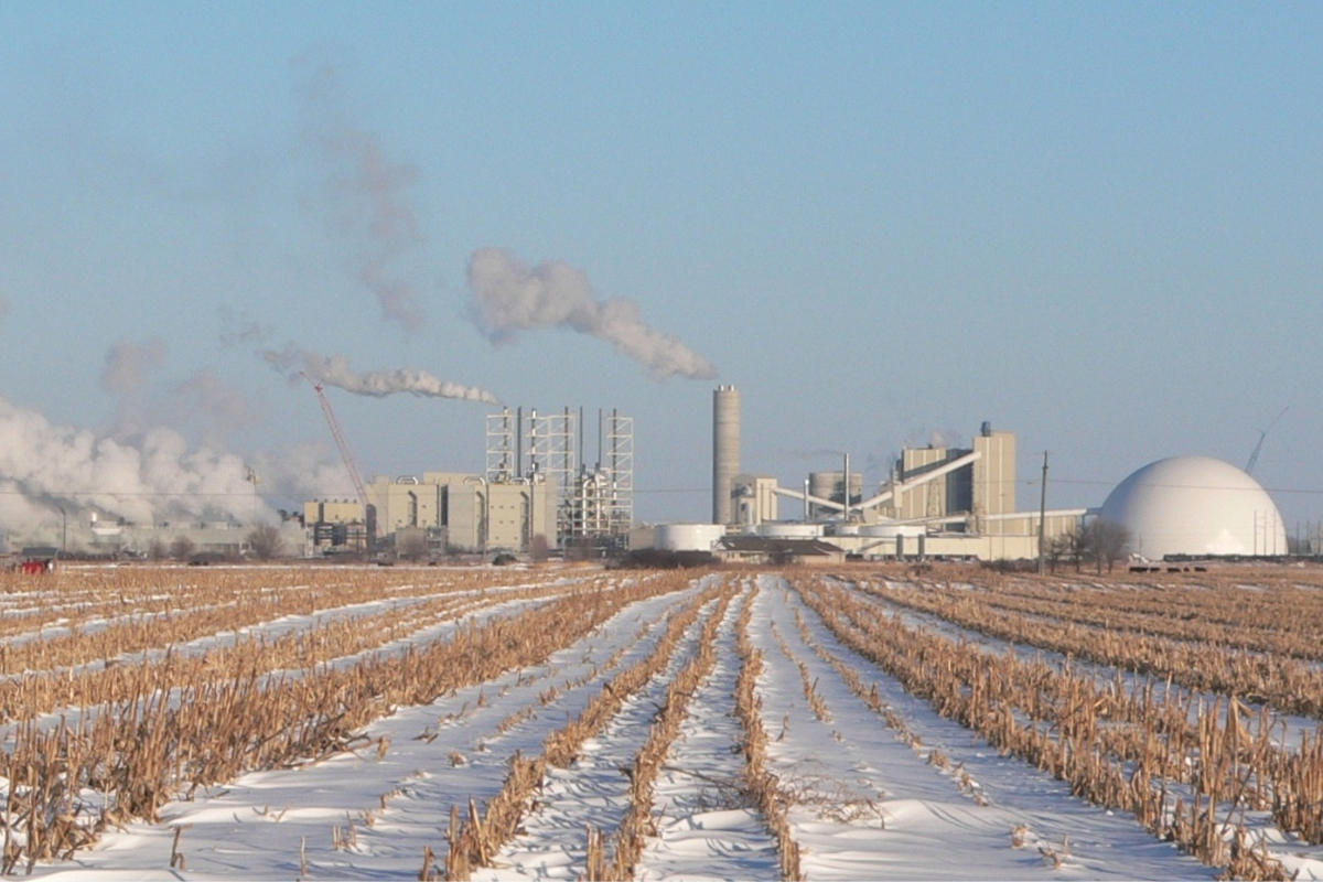 ADM corn plant covered in snow