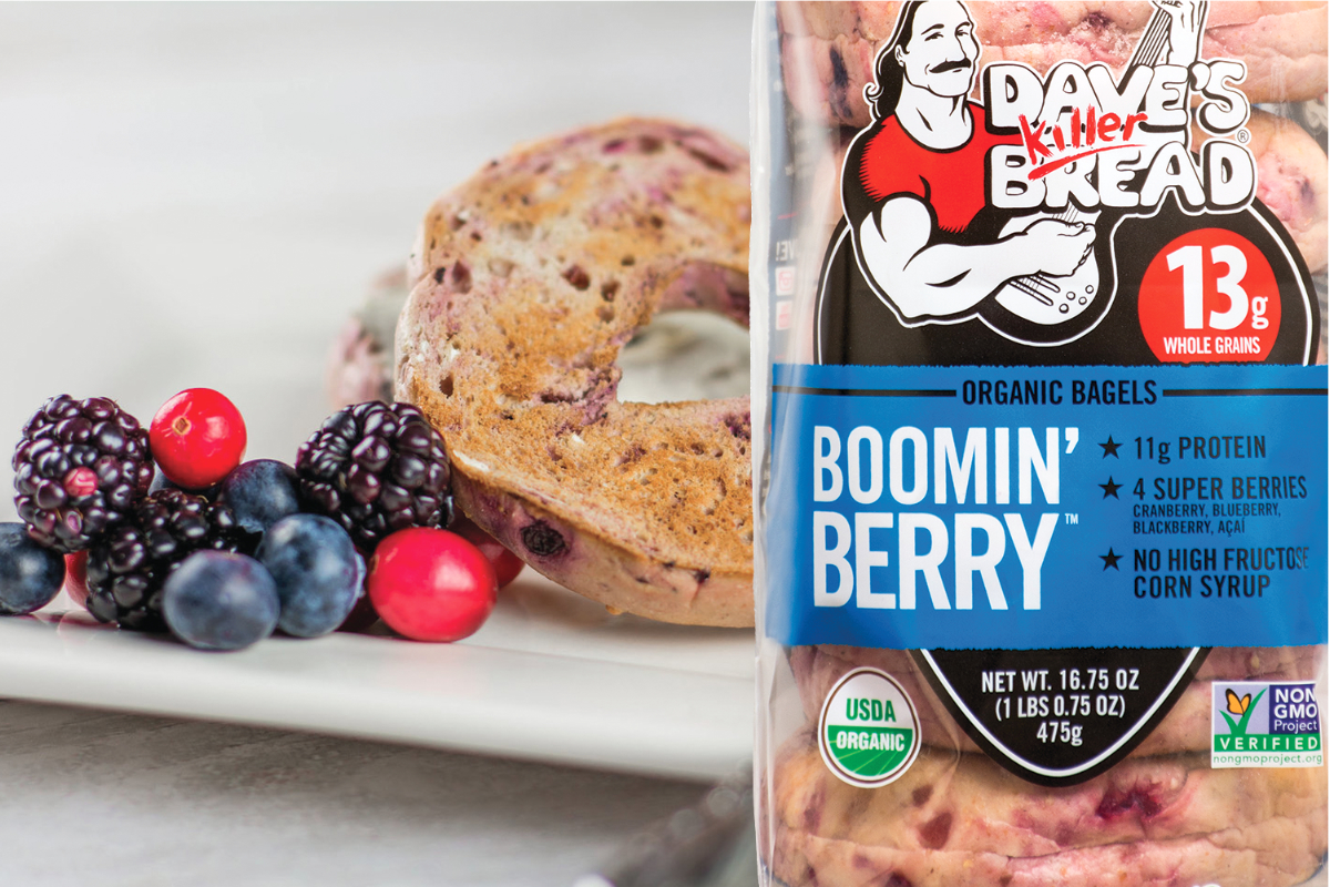 Dave's Killer Bread Boomin Berry bagels, Flowers Foods