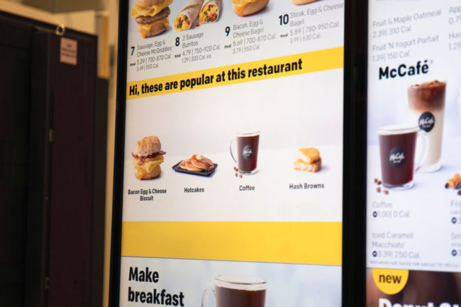 McDonald's Dynamic Yield decision technology menu board