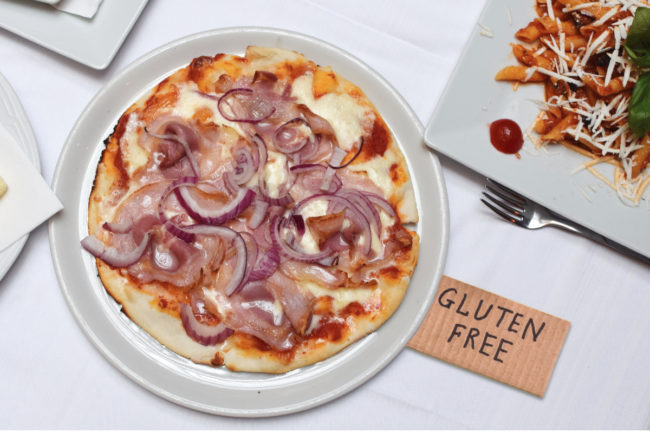 Gluten-free pizza at a restaurant