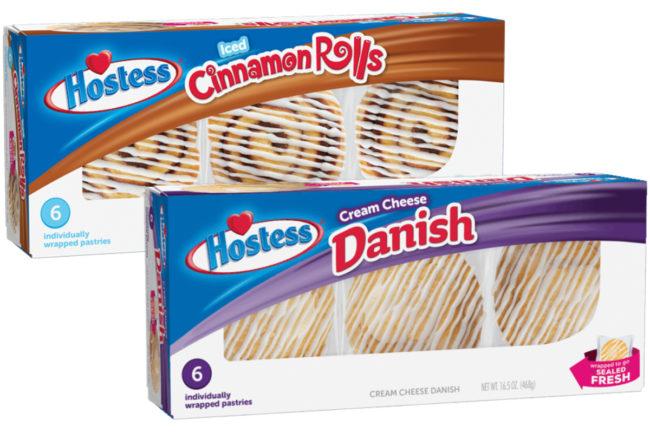 Hostess Iced Cinnamon Rolls and Cream Cheese Danish