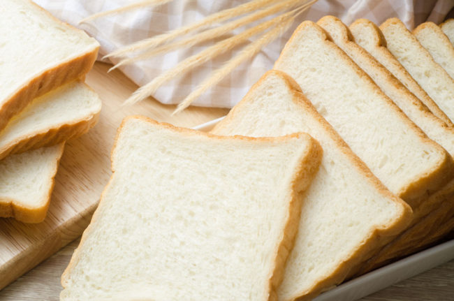 Refined grains white bread